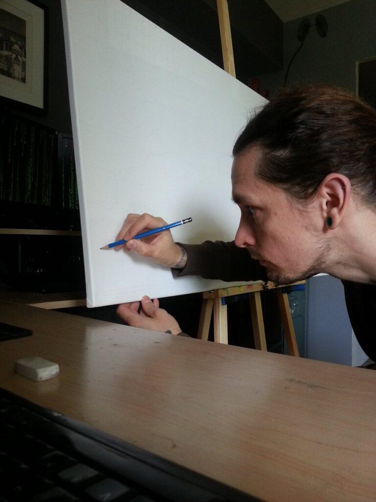 Blair Mueller working at canvas